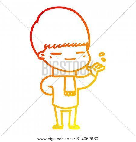 warm gradient line drawing of a cartoon smug boy