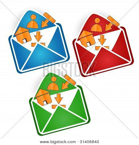 Web buttons in an envelope