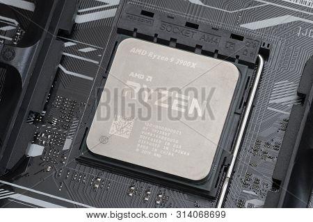 Melbourne, Australia - Jul 29, 2019: Third Generation Ryzen 3900x Processor Installed On Motherboard