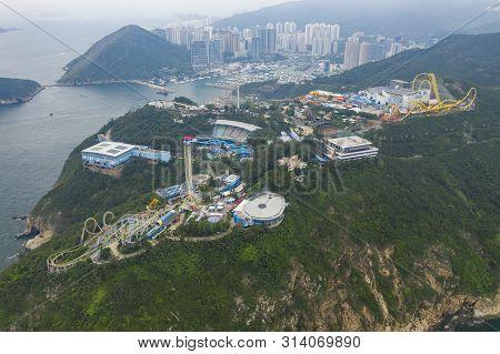 Hong Kong, China - May 23, 2019: Aerial View Of Ocean Park In Hong Kong
