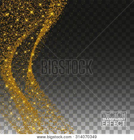 Gold Glittering Space Star Dust. Sparkling Particles On Transparent Background. Glitter Particles Ef