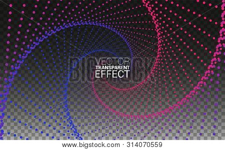 Circle Vortex With Colored Curves. Minimalistic Abstract Line. Isolated On Transparent Background Ve