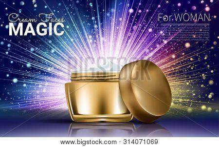 Luxury Skin Toner Ads. Premium Glass Bottle Scarlet Satin Isolated On Bokeh Light Bulb Background In