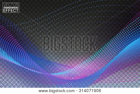 Dynamic Particles Sound Wave Flowing. Beautiful Wave Shaped Array Of Glowing Dots. Isolated On Trans
