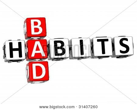 3D Bad Habits Crossword Text