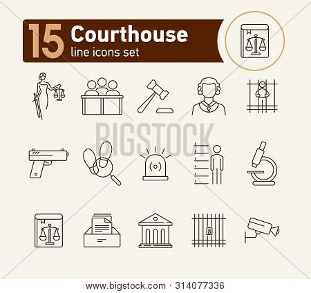 Courthouse line icon set. Jury bench, prison, criminal code. Justice concept. Can be used for topics like court, trial, crime poster