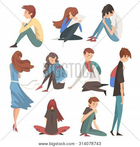 Unhappy Sad Boys And Girls Set, Depressed, Lonely, Anxious, Abused Teenagers Having Problems Vector
