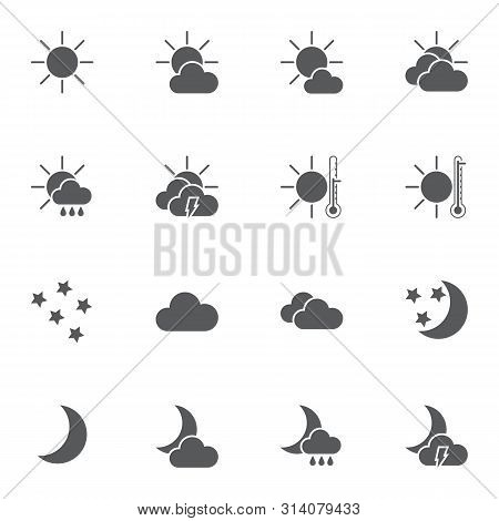 Abstract Weather Vector Icons Set, Modern Solid Symbol Collection, Filled Style Pictogram Pack. Sign