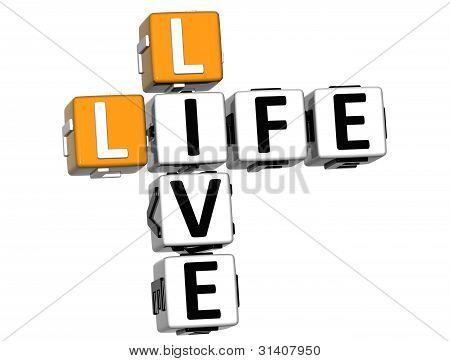 3D Live Life Crossword Text