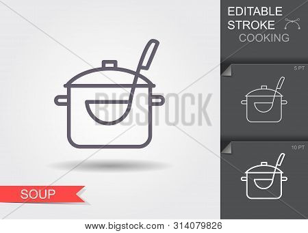 Pan With A Ladle. Line Icon With Editable Stroke With Shadow