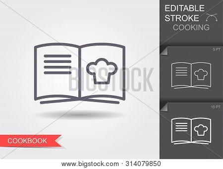 Cooking Book. Line Icon With Editable Stroke With Shadow