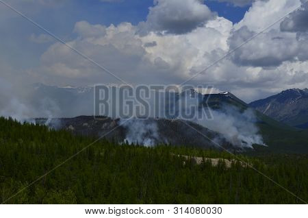 Fire At Siberian Forests Near Severomuysk At Siberia