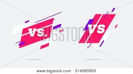 Set Of Versus Logo Vs Letters For Sports And Fight Competition. Mma, Battle, Vs Match, Game Concept