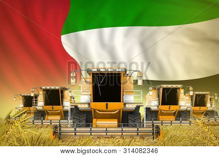 A Lot Of Yellow Farming Combine Harvesters On Grain Field With United Arab Emirates Flag Background
