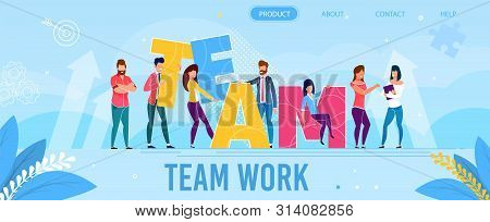 poster of Teamwork Metaphor Landing Page in Flat Style. Cartoon Diverse Coworking Freelancers Characters Building Inspirational Word Team from Huge Letters. Vector Motivational Illustration with Foliage Design