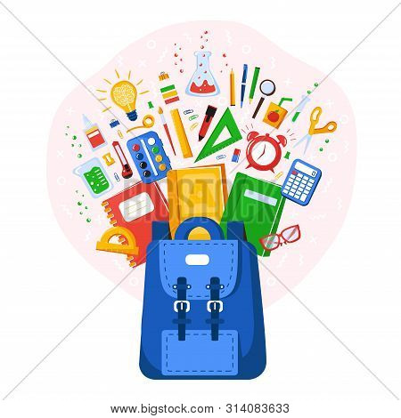 Collection Of School Supplies. Back To School. Stationery For School Or College. School Bag Contents