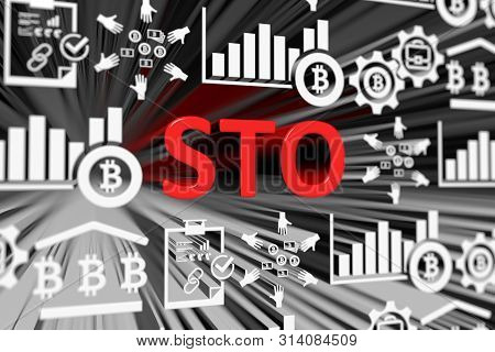 Sto Concept Blurred Background 3d Render Illustration
