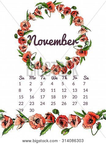 Printable Botanical Calendar 2020 With Wreath And Endless Brush Of Red Poppy Flowers And  Leaves. Ha