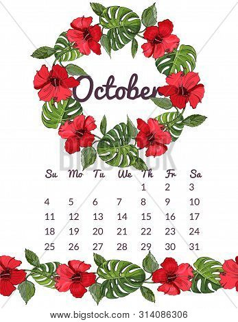 Printable Botanical Calendar 2020 With Wreath And Endless Brush Of Red Hibiscus Flowers And Monstera