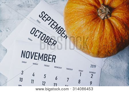Autumn Months, Fall Season Concept. Three Monthly Calendars Of September, October And November. Top