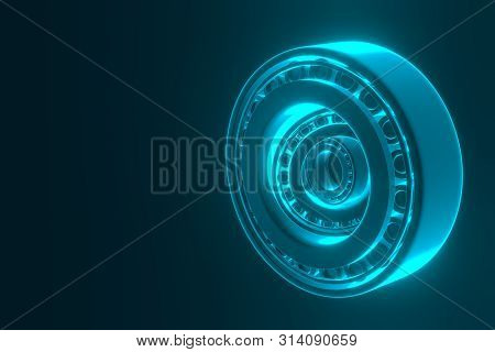3D rendering. Automotive bearings auto spare parts. Tapered roller bearing isolated on a blue background. Wheel bearing for truck, heavy duty and car. poster