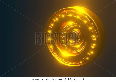 3D rendering. Automotive gold bearings auto spare parts. Tapered roller bearing isolated on a blue background. Wheel bearing for truck, heavy duty and car. poster