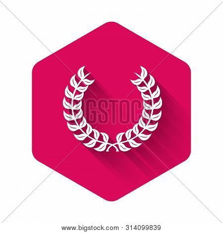 White Laurel Wreath Icon Isolated With Long Shadow. Triumph Symbol. Pink Hexagon Button. Vector Illu