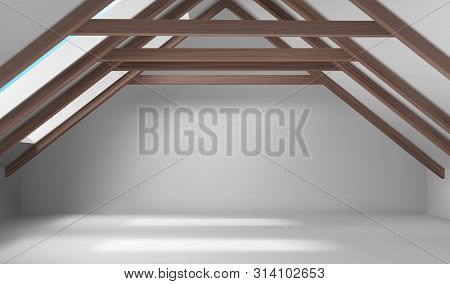 House Attic Interior, Empty Mansard Room, Spacious Place On Roof With Beams Ceiling, White Floor, Wa