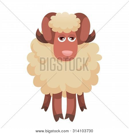Tired Ram Icon. Cartoon Of Tired Ram Vector Icon For Web Design Isolated On White Background