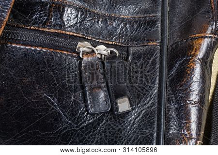 Fragment Of Old Black Handbag With Zipper With Leather Pullers