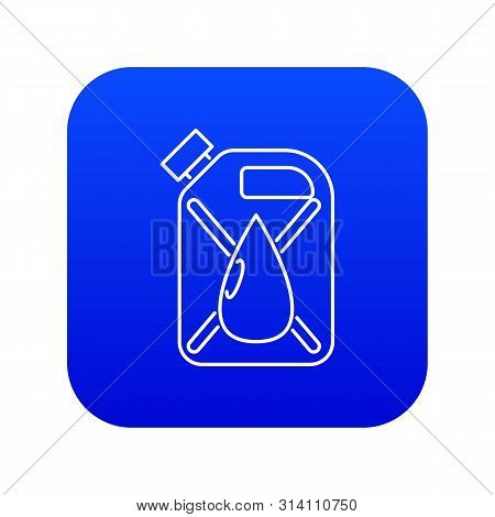 Jerrycan With Drop Icon Blue Vector Isolated On White Background