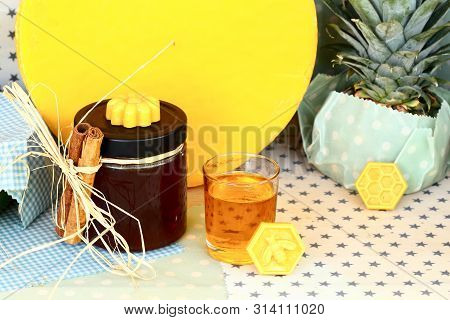 Stillife With Honey And Olive Oil On A Table