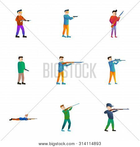 Shooter Icon Set. Cartoon Set Of 9 Shooter Vector Icons For Web Design Isolated On White Background