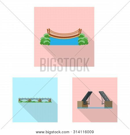 Isolated Object Of Bridgework And Bridge Symbol. Set Of Bridgework And Landmark Vector Icon For Stoc