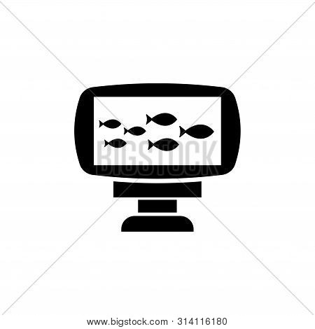 Echo Sounder, Sonar Catch Fish. Flat Vector Icon Illustration. Simple Black Symbol On White Backgrou