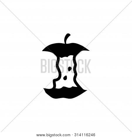 Apple Stub, Stump. Flat Vector Icon Illustration. Simple Black Symbol On White Background. Apple Stu