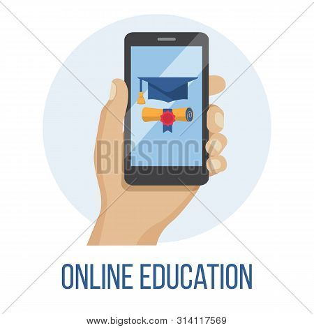 Hand Holding Mobile Phone With Educational App In The Screen - Distant E-learning E-learning Educati