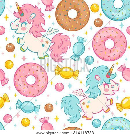 Vector Seamless Pattern With Cute Unicorn And Donuts And Candies. Funny Pattern For Children With Cu