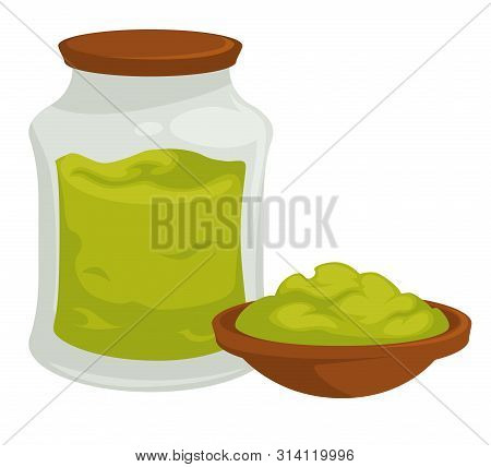 Wasabi In Pot With Cap Spicy Asian Product Vector