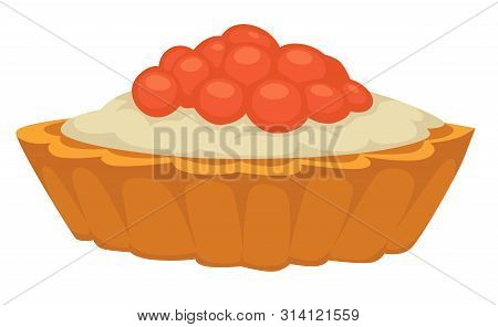 Tartlet With Creamy Mousse And Caviar Buttercream Vector