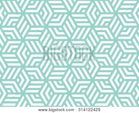 Abstract Stripes, Line Vector Seamless Pattern. Neutral Monochrome Business Background, Turquoise Wh