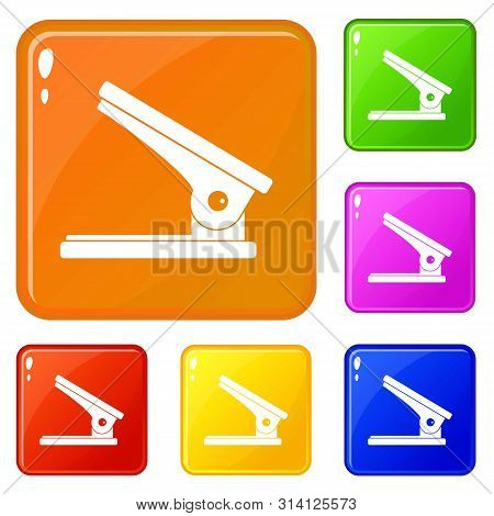 Office Paper Hole Puncher Icons Set Collection Vector 6 Color Isolated On White Background
