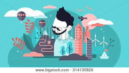 Citizen vector illustration. Flat tiny movement rights persons concept. Nationality identity and freedom symbol. Independence lifestyle and secure global emigration. Abstract foreign travel rights. poster