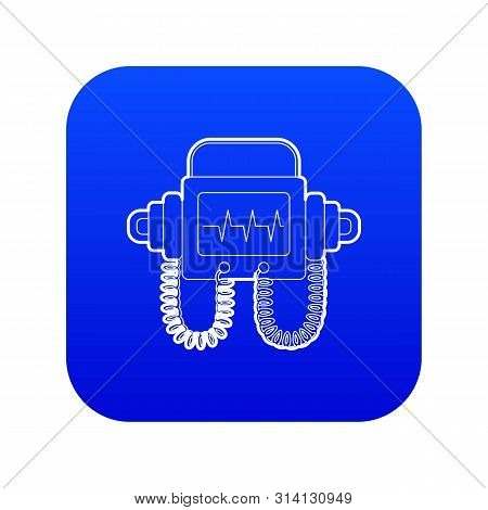 Defibrillator Icon Blue Vector Isolated On White Background