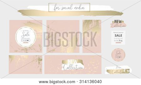 Elegant Social Media Trendy Chic Gold Pink Blush Banner Templates