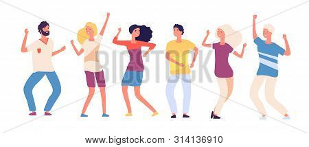 Cartoon Dancing People. Happy Young Persons Dance, Joyful Adults Woman And Man Dancers. Party Crowd
