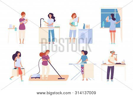 Housewives. Woman Housewife Doing Housework, Happy Mother Cooks In Kitchen, Ironing And Cleaning, Va