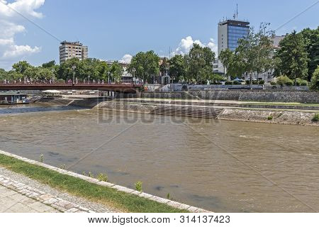 Nis, Serbia - June 15, 2019:  Panoramic View Of City Of Nis And Nisava River, Serbia
