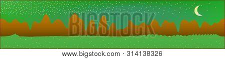Green Sky, And Mountains Landscape. Plain Horizontal Background Illustration. Trendy Fairy Tale Plai