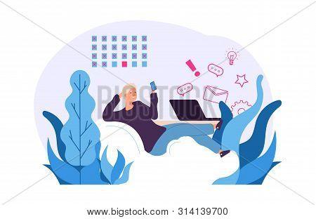 Procrastination Vector Concept. Man Postpones Work For Later. Office Procrastination Employee, Workp